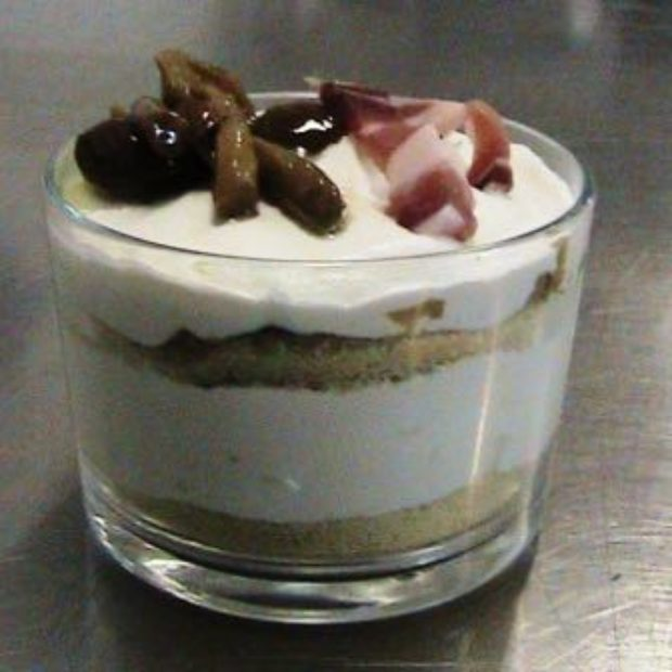 Verrine with Cheese Mousse, Speck and Mushrooms